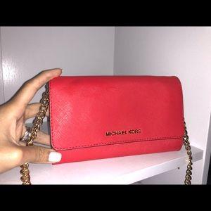 Michael Kors brand new red leather chain crossbody